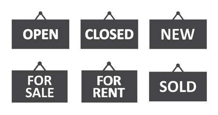Hanging sign icon set, vector. Open, closed, new, for sale, for rent and sold words.
