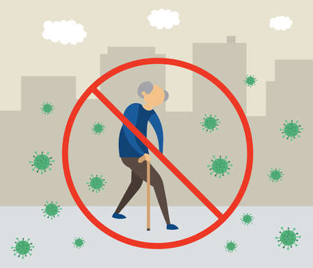 Old man has gone out, but because of the corona virus, this is very dangerous and forbidden flat vector illustration. Ilustração