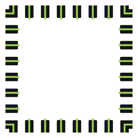 Colored frame, blank background vector design in green and black colors. Ilustrace