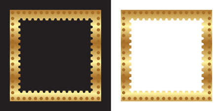 Gold color photo frame, blank background vector design with white and black backgrounds, used gradient.