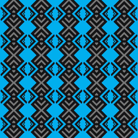 Vector seamless pattern texture background with geometric shapes, colored in blue, grey and black colors. Vektorové ilustrace