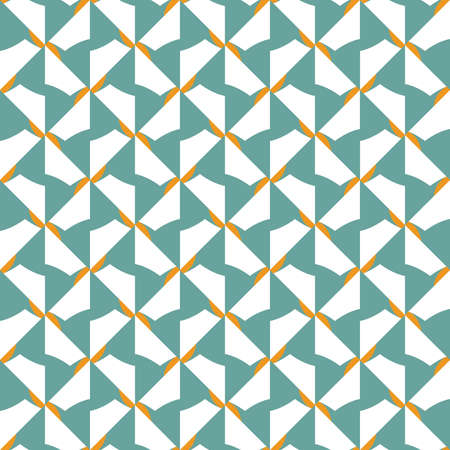 Vector seamless pattern texture background with geometric shapes, colored in blue, orange and white colors.