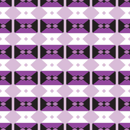 Vector seamless pattern texture background with geometric shapes, colored in violet, black and white colors.  イラスト・ベクター素材