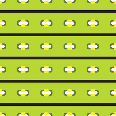 Vector seamless pattern texture background with geometric shapes, colored in green, yellow, black and white colors.