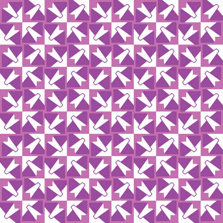 Vector seamless pattern texture background with geometric shapes, colored in violet and white colors.