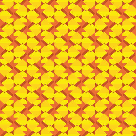 Vector seamless pattern texture background with geometric shapes, colored in orange and yellow colors.