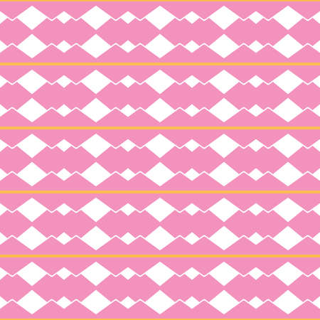 Vector seamless pattern texture background with geometric shapes, colored in pink, white and yellow colors.