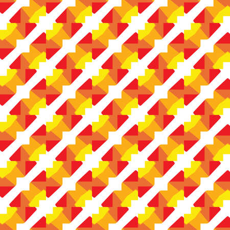 Vector seamless pattern texture background with geometric shapes, colored in red, orange, yellow and white colors.  イラスト・ベクター素材