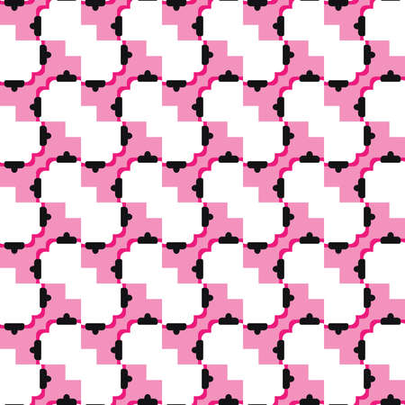 Vector seamless pattern texture background with geometric shapes, colored in pink, white, red and black colors.  イラスト・ベクター素材