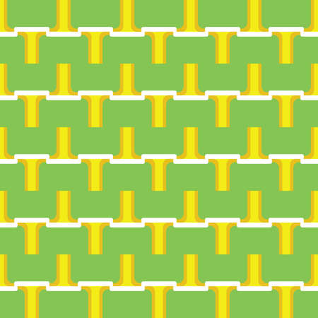 Vector seamless pattern texture background with geometric shapes, colored in green, yellow and white colors.