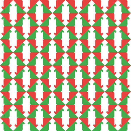 Vector seamless pattern texture background with geometric shapes, colored in green, red and white colors.