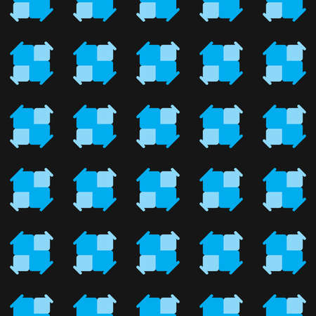 Vector seamless pattern texture background with geometric shapes, colored in black and blue colors.  イラスト・ベクター素材