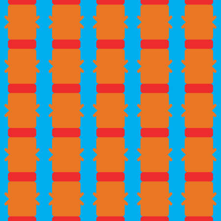 Vector seamless pattern texture background with geometric shapes, colored in blue, orange and red colors.