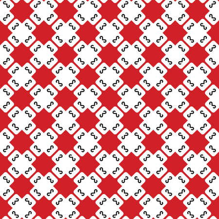 Vector seamless pattern texture background with geometric shapes, colored in red, white and black colors.  イラスト・ベクター素材