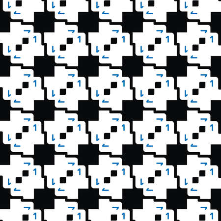Vector seamless pattern texture background with geometric shapes, colored in black, white and blue colors.