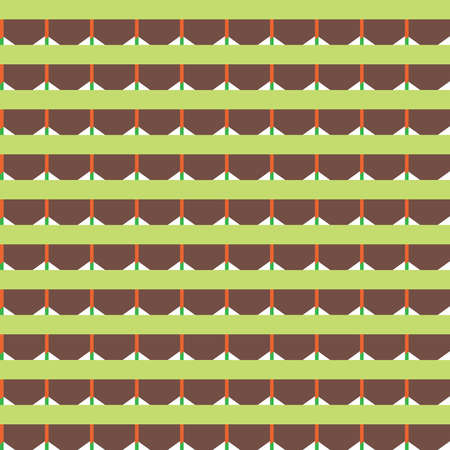 Vector seamless pattern texture background with geometric shapes, colored in green, brown, orange and white colors.  イラスト・ベクター素材