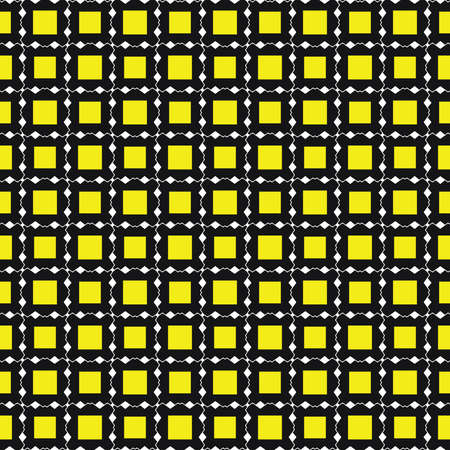 Vector seamless pattern texture background with geometric shapes, colored in yellow, black and white colors.  イラスト・ベクター素材