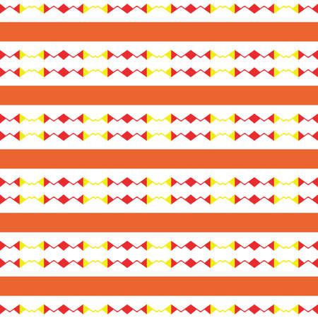 Vector seamless pattern texture background with geometric shapes, colored in orange, red, yellow and white colors.