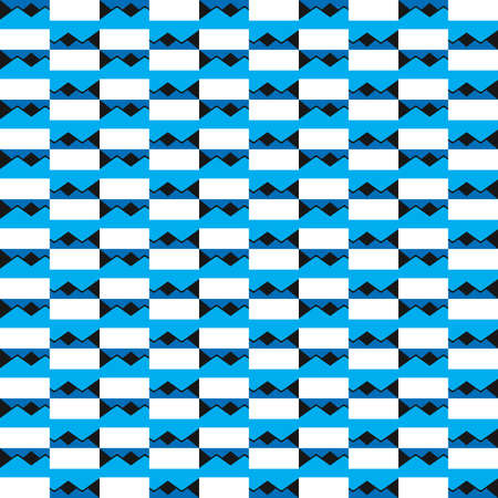 Vector seamless pattern texture background with geometric shapes, colored in blue, black and white colors.