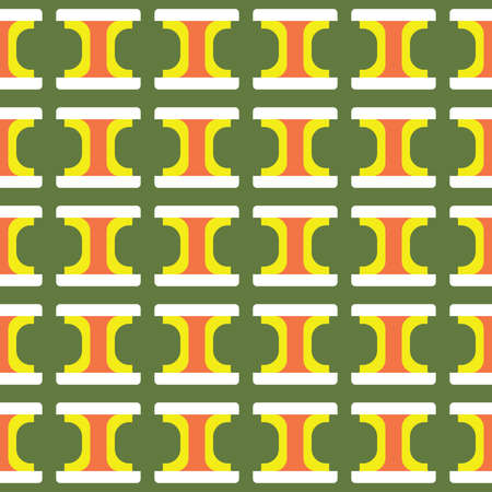 Vector seamless pattern texture background with geometric shapes, colored in green, yellow, orange and white colors.