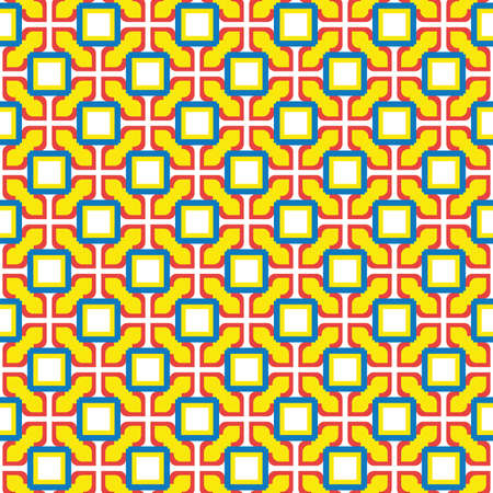 Vector seamless pattern texture background with geometric shapes, colored in yellow, red, blue and white colors.