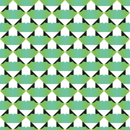 Vector seamless pattern texture background with geometric shapes, gradient colored in green, black and white colors.  イラスト・ベクター素材