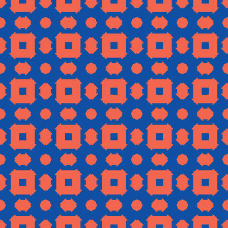 Vector seamless pattern texture background with geometric shapes, colored in orange and blue colors.  イラスト・ベクター素材