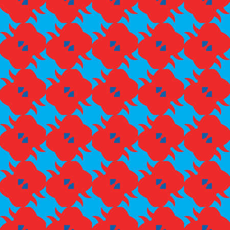 Vector seamless pattern texture background with geometric shapes, colored in blue and red colors.