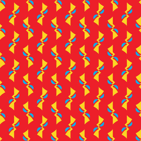 Vector seamless pattern texture background with geometric shapes, colored in red, blue and yellow colors.  イラスト・ベクター素材