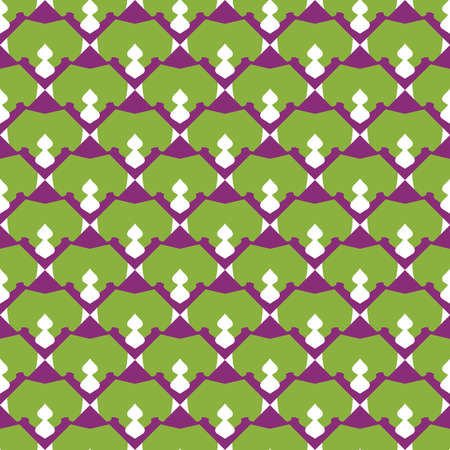 Vector seamless pattern texture background with geometric shapes, colored in dark purple, violet, green and white colors.