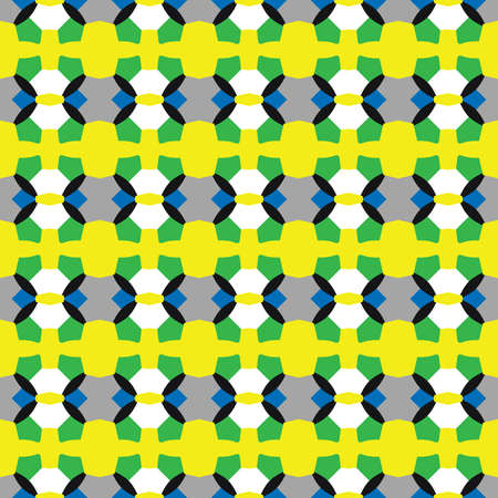 Vector seamless pattern texture background with geometric shapes, colored in yellow, green, blue, grey, black and white colors.