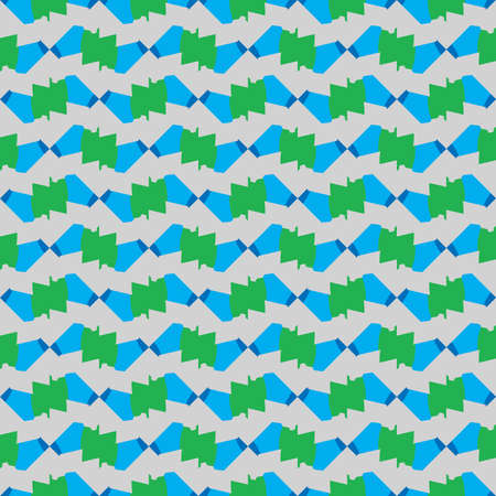 Vector seamless pattern texture background with geometric shapes, colored in blue, green and grey colors.