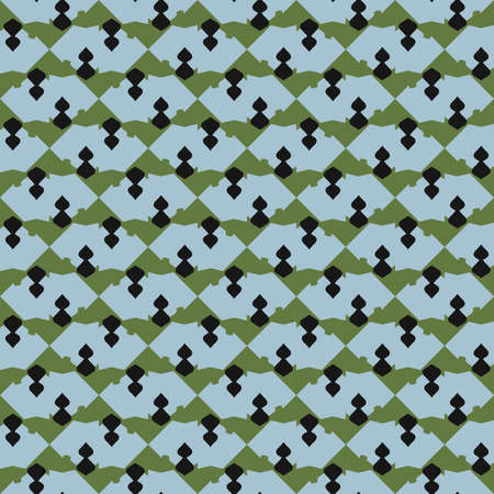 Vector seamless pattern texture background with geometric shapes, colored in blue, green and black colors.