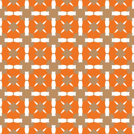 Vector seamless pattern texture background with geometric shapes, colored in brown, orange and white colors. Çizim