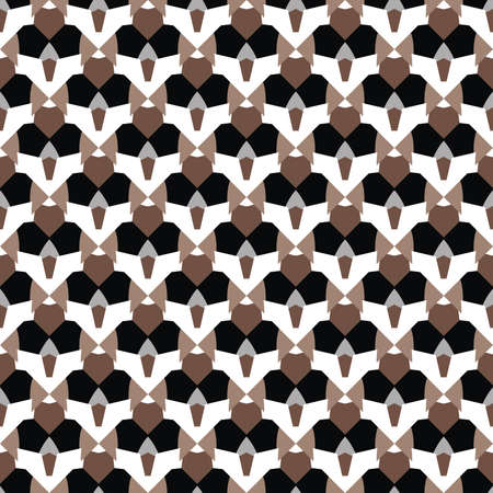 Vector seamless pattern texture background with geometric shapes, colored in brown, black, grey and white colors.