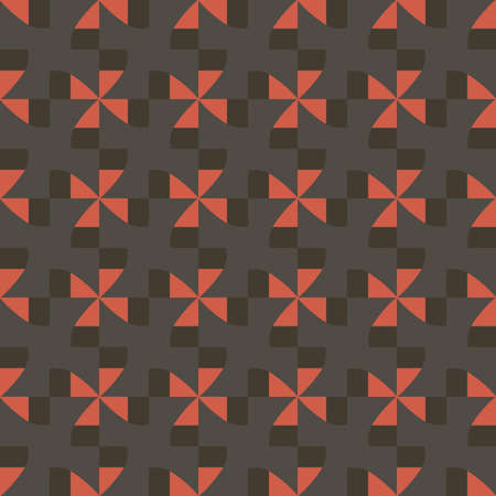 Vector seamless pattern texture background with geometric shapes, colored in brown, grey and orange colors. Çizim