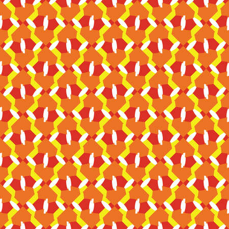 Vector seamless pattern texture background with geometric shapes, colored in orange, yellow, red and white colors.