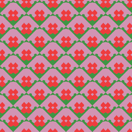 Vector seamless pattern texture background with geometric shapes, colored in red and green colors.
