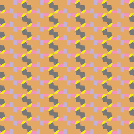 Vector seamless pattern texture background with geometric shapes, colored in orange, violet, yellow and grey colors.
