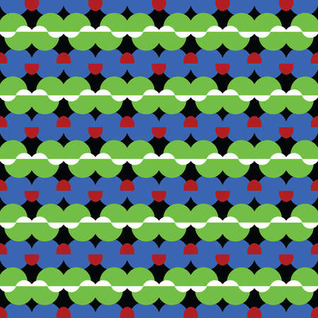 Vector seamless pattern texture background with geometric shapes, colored in green, blue, red and white colors.