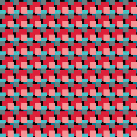 Vector seamless pattern texture background with geometric shapes, colored in red, blue, green and black colors.