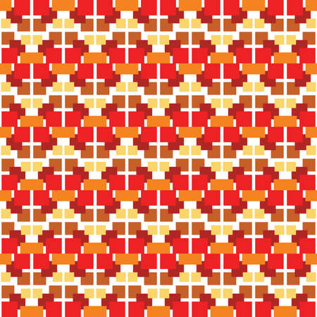 Vector seamless pattern texture background with geometric shapes, colored in red, orange, brown, yellow and white colors. Çizim