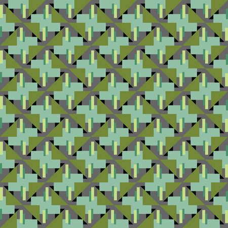 Vector seamless pattern texture background with geometric shapes, colored in green, black and grey colors. Çizim