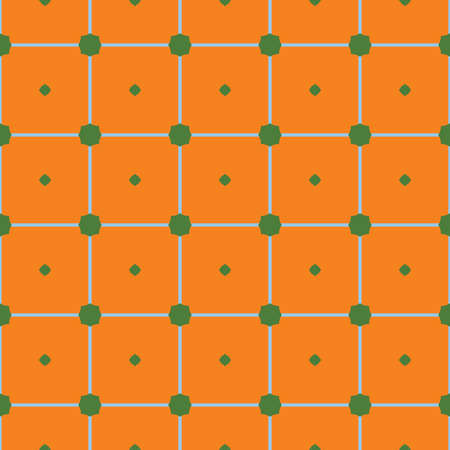 Vector seamless pattern texture background with geometric shapes, colored in orange, green and blue colors. Çizim