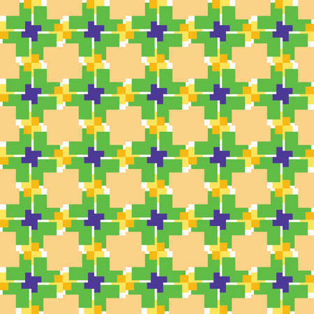 Vector seamless pattern texture background with geometric shapes, colored in yellow, green, violet purple and white colors. Çizim