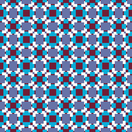 Vector seamless pattern texture background with geometric shapes, colored in red, blue, violet and white colors.