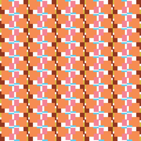 Vector seamless pattern texture background with geometric shapes, colored in orange, brown, red, yellow, blue and white colors.