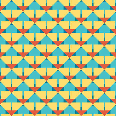Vector seamless pattern texture background with geometric shapes, colored in yellow, blue and orange colors.