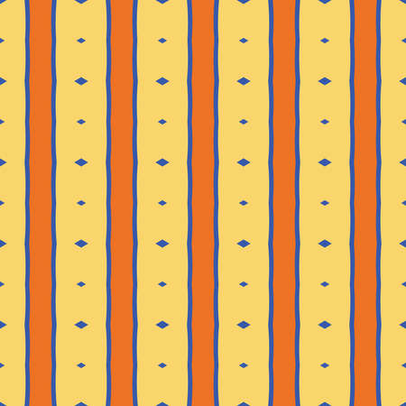 Vector seamless pattern texture background with geometric shapes, colored in yellow, orange and blue colors. Çizim