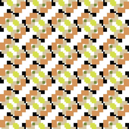 Vector seamless pattern texture background with geometric shapes, colored in brown, orange, yellow, green and white colors. Çizim